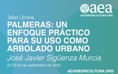 TALLER ONLINE: PALMERAS.ENFOQUE PRÁCTICO PARA USO COMO ARBOLADO URBANO. José Javier Sigüenza. 22-23-24/09/2020