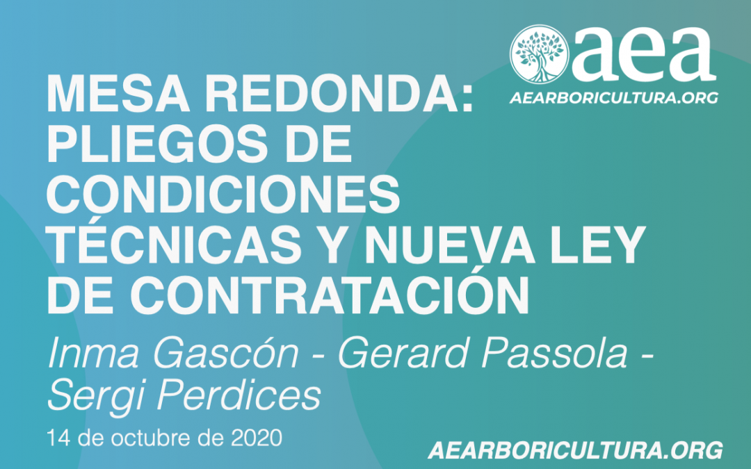MESA REDONDA ONLINE:PLIEGOS DE CONDICIONES Y NUEVA LEY DE CONTRATACIÓN. 14/10/2020